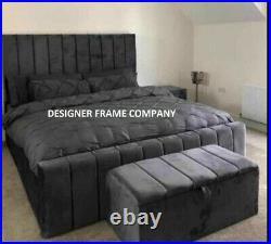 Ottoman Storage Gas Lift Up Panel Plush Velvet Upholstered Bed Frame
