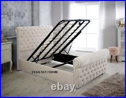 Ottoman Storage Scroll Chesterfield Upholstered Plush Velvet Sleigh Bed Frame
