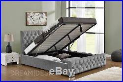 Ottoman Storage Upholstered Bed Frame Double King Size Mattress Velvet Chenille