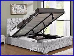 Ottoman Storage Upholstered Bed Frame Velvet Chenille Double King Size Mattress