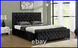 Ottoman Storage Upholstered Fabric Bed Frame Black Crushed Velvet King Size