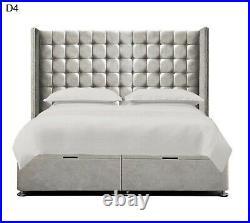 Ottoman Storage Winged Bed Divan Base Plush Velvet Upholstered Wingback Bed