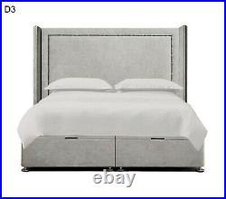 Ottoman Storage Winged Bed Divan Base Plush Velvet Upholstered Wingback Beds