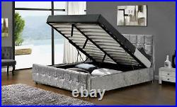 Ottoman Upholstered Fabric Bed Crushed Velvet Double King Size Silver Storage