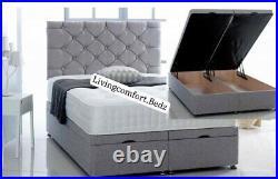 Ottoman divan storage bed frame with 54 headboard FREE& pocket mattress 10 3D
