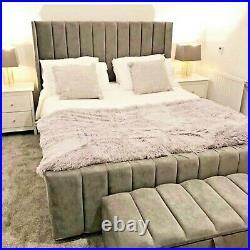 Oulton Upholstered Panel Design Wing Back Bed Frame Plush Velvet Grey Pink
