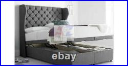 Oxford Wingback Divan Base Storage Bed, Ottoman Gas Lift Bed in Plush Velvet