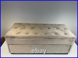 Pale Grey Taupe Matte Velvet Upholstered Shoe Storage Bench Trunk Ottoman