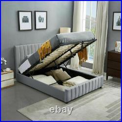 Panel Plush Velvet Upholstered Bed Frame 4ft6 Double 5ft King Ottoman Storage