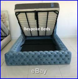 Park Lane Ambassador Velvet Bed Frame Chesterfield Upholstered Ottoman Storage