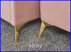 Pettine Upholstered Window Ottoman Storage Bench Fabric Blanket Box Blush Pink