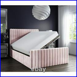 Pink Bed Double Side Ottoman Bed in Baby Pink Velvet Beautiful Storage Bed New