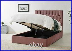 Pink Velvet Ottoman Storage Bed Gas Lift Headboard & Memory Foam Mattress