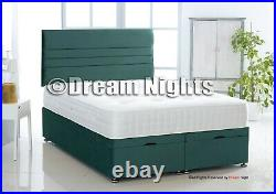 Plush Soft Velvet Ottoman Gas Lift Divan Bed With Underbed Storage