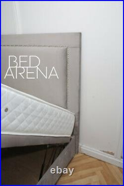 Plush Velvet Alton Studded Divan Bed, Storage Bed, Ottoman Gas Lift Storage Bed