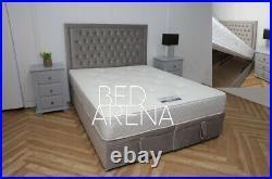 Plush Velvet Cambridge Divan Bed, Storage Bed, Ottoman Gas Lift Storage Bed