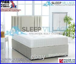 Plush Velvet Divan Bed Base Only + FREE 26 VertiLine Headboard 3FT 4FT 4FT6 5FT
