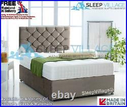 Plush Velvet Divan Bed Base Only + FREE Chesterfield Headboard 3FT 4FT 4FT6 5FT