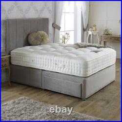 Plush Velvet Fabric Divan Storage Drawers Upholstered Bed Frame Base & Headboard