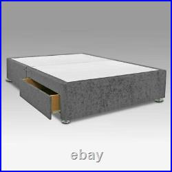 Plush Velvet Fabric Storage Drawers Upholstered Divan Bed Frame Base & Headboard