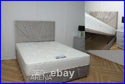 Plush Velvet Florence Divan Storage Bed, Ottoman Gas Lift Storage Bed