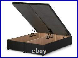 Plush Velvet Gas Lift Ottoman Storage Divan Bed Frame Base With Underbed Storage