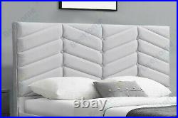 Plush Velvet Grey Ottoman Gas Lift Storage Bed, 4FT6 Double & 5FT King