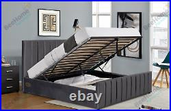 Plush Velvet Ottoman Storage Gas Lift Up Bed With Mattress 4ft6 Double 5ft King