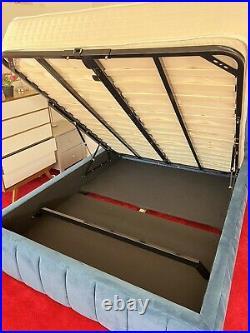 Plush Velvet Panel Padded Bed WithOttoman Gas Lift Storage