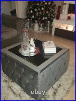 Plush Velvet Storage Upholstered Chesterfield Glass Top Coffee Table