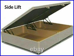 Plush Velvet Upholstered Gas Lift Up Fabric Ottoman Storage Bed Frame Headboard