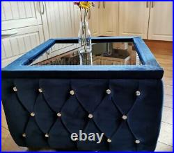 Plush Velvet Upholstered Glass Top Coffee Table With Storage