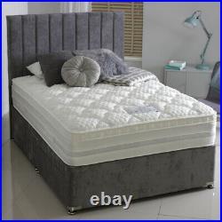 Plush Velvet Upholstered Storage Divan Bed Frame Base with Drawers and Headboard