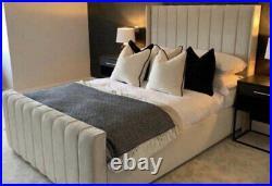 Plush Velvet Wingback Bed Panel Bed Gaslift Storage Ottoman Bed Frame