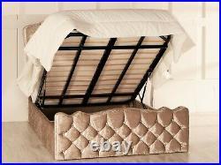 Rochelle Ottoman Storage Bed Frame Diamante Buttons Esupasaver Made in England