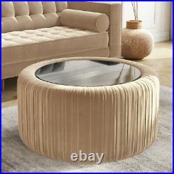 Round Beige Velvet Ottoman Storage Coffee Table Clio CCC005