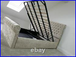 SLEIGH CHESTERFIELD BED With SLATS + GASLIFT OTTOMAN STORAGE + DOUBLE BESPOKE SALE