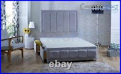 -SOFT ARENA Velvet upholstered under storage divan bed + 54 Large Headboard