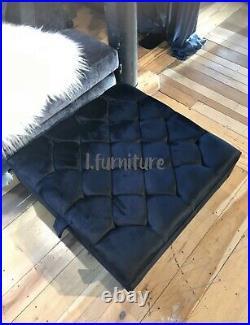 SQUARE BLACK Storage coffee table or footstool handmade upholstered in velvet