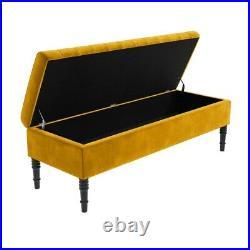 Safar Ottoman Bench Pouffe Foot Stool Velvet Upholstered Ottoman Storage Box
