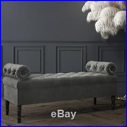Safina Hall Storage Bench in Grey Velvet BUN/SAF045/70715