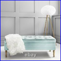 Safina Hallway Storage Bench in Duck Egg Blue Velvet BUN/SAF057/76570