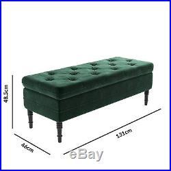 Safina Ottoman Storage Bench in Bottle Green Velvet with Button Detail SAF050