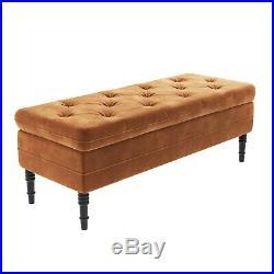 Safina Ottoman Storage Bench in Burnt Orange Velvet with Button Detail SAF055