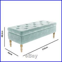 Safina Ottoman Storage Bench in Duck Egg Blue Velvet with Button Detail SAF057