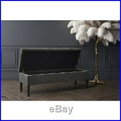 Safina Ottoman Storage Bench in Grey Velvet with Bolster Cushions SAF045