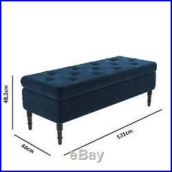 Safina Ottoman Storage Bench in Navy Blue Velvet with Button Detail SAF056