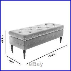 Safina Ottoman Storage Bench in Silver Grey Velvet with Button Detail SAF049