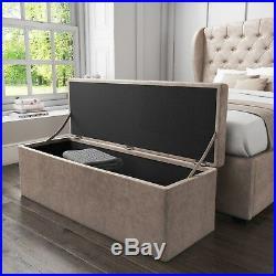 Safina Ottoman Storage Box in Beige Velvet SAF028