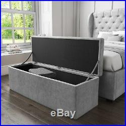 Safina Ottoman Storage Box in Grey Velvet SAF027